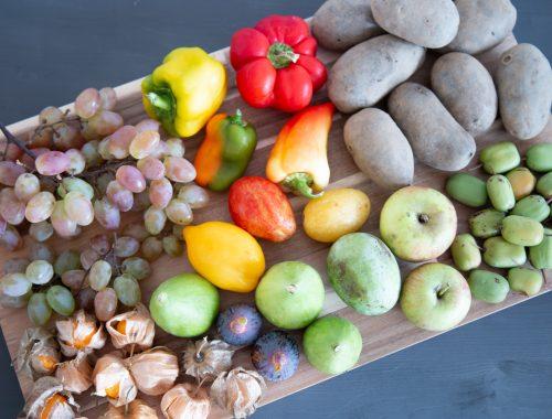 Obst und Gemüse von oben