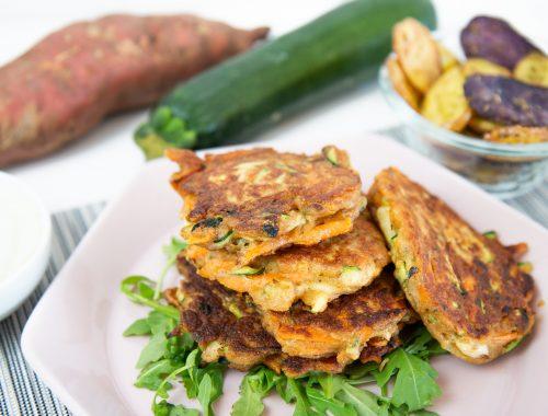 vollwertige Zucchini-Süßkartoffel-Pancakes
